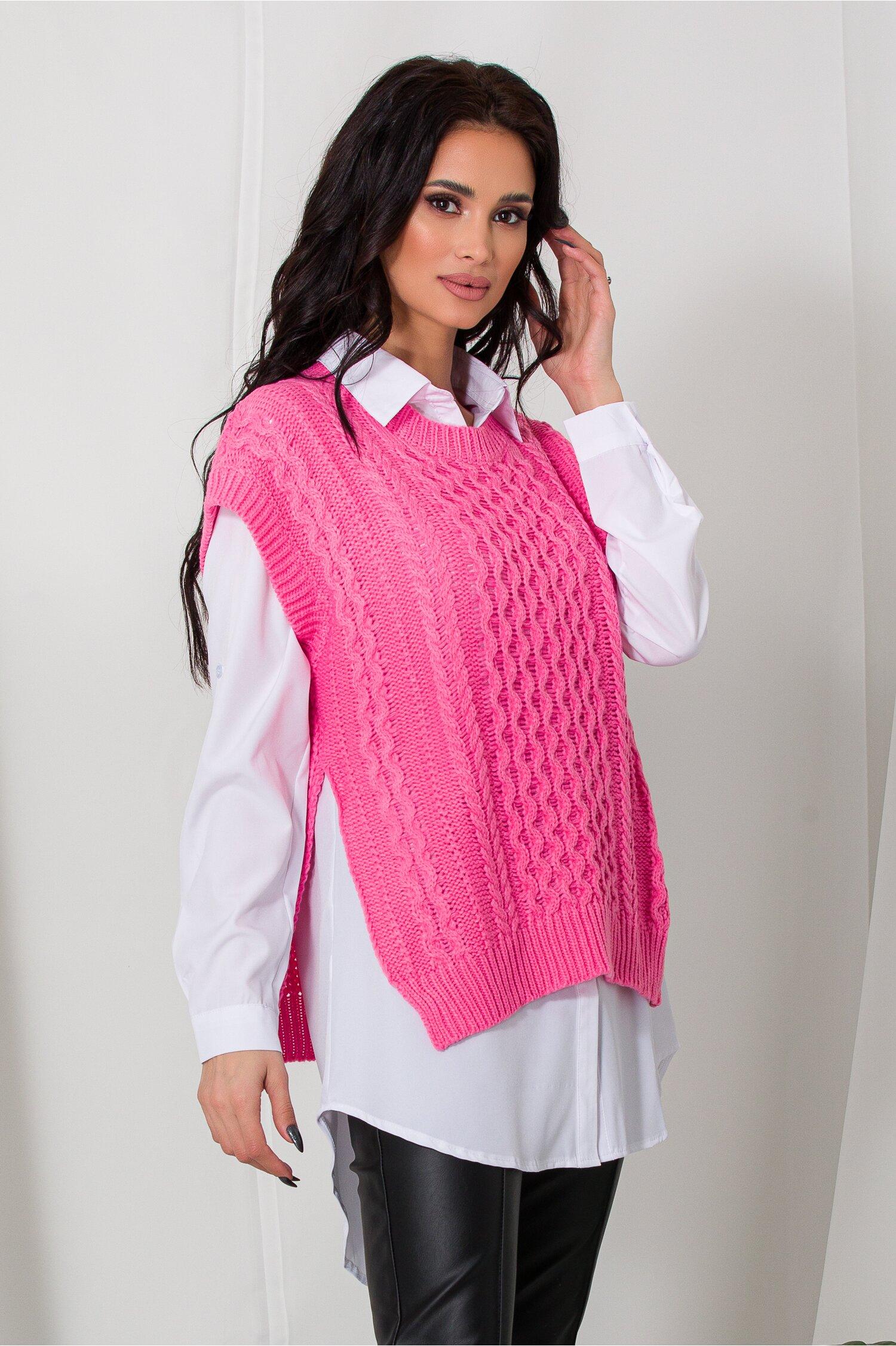 Camasa cu vesta roz tricotata