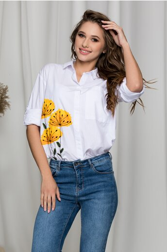 Camasa Daiana alba cu flori galbene