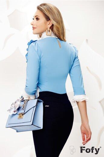 Camasa de dama Fofy bleu eleganta cu platca și volane