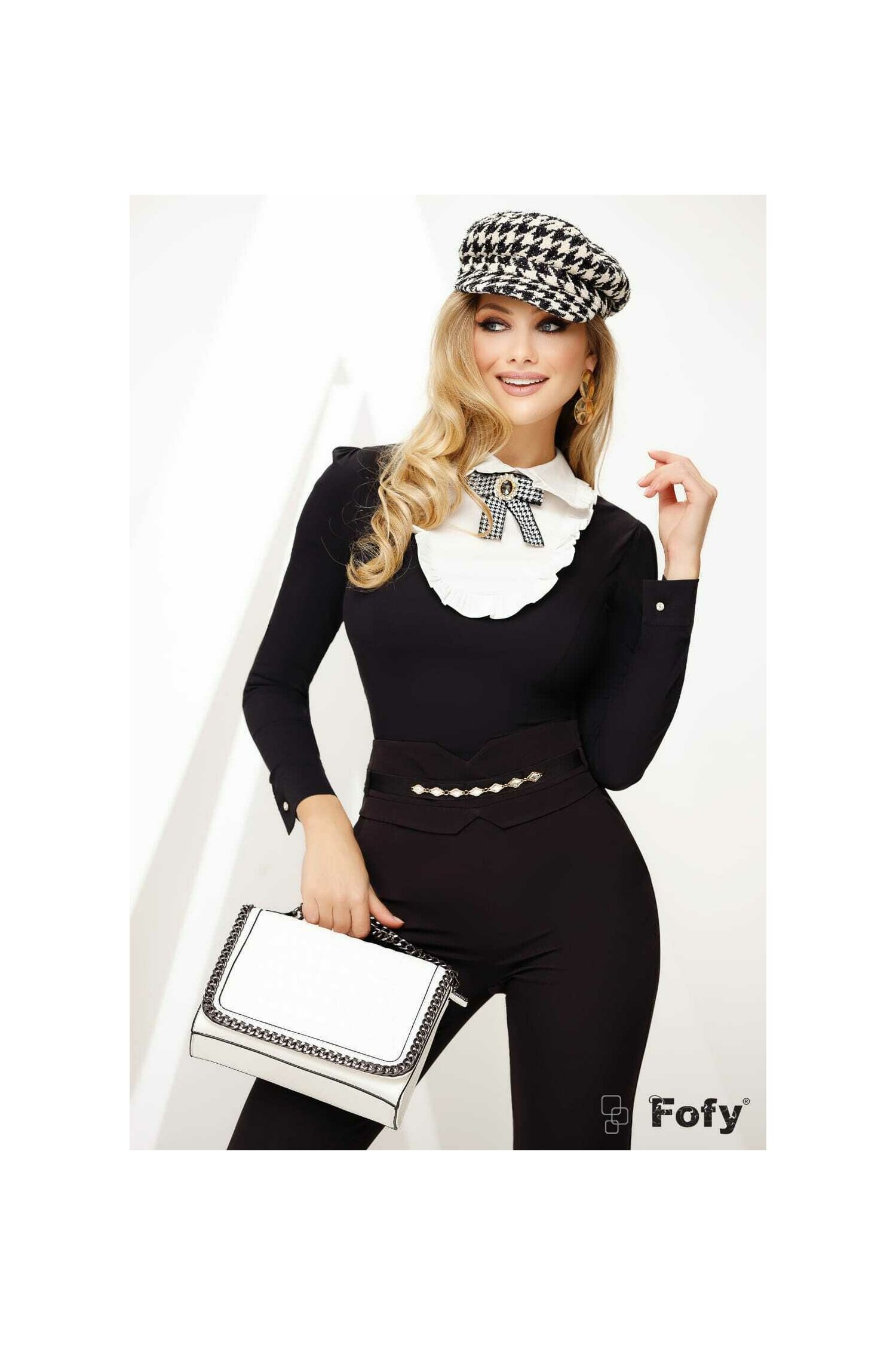 Camasa de dama Fofy neagra cu platca imagine