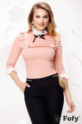 Camasa de dama Fofy roz eleganta cu platca și volane