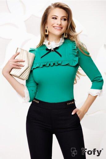 Camasa de dama Fofy verde eleganta cu platca și volane