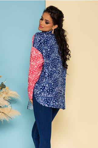 Camasa Demy oversize multicolora in nuante de albastru cu imprimeu floral tip mandala