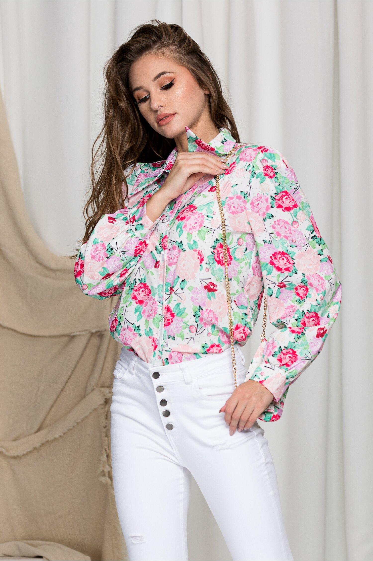 Camasa Denisse alba cu trandafiri roz si buline