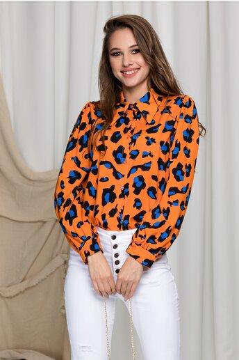 Camasa Denisse orange cu imprimeu animal print si accesoriu