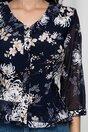 Camasa din voal bleumarin cu imprimeu floral alb