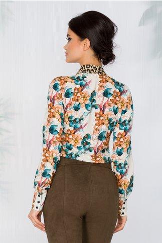Camasa Flora bej cu imprimeu floral si accesoriu tip panglica cu animal print