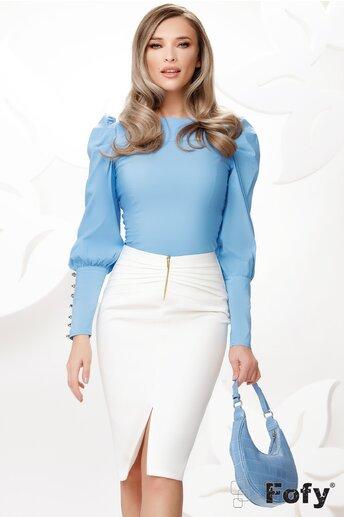 Camasa Fofy bleu cu mansete late si nasturi cu strass