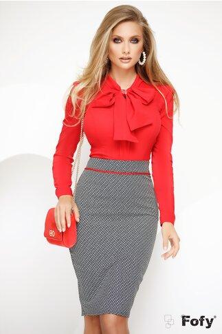 Camasa Fofy rosie cu funda maxi si accesoriu auriu inclus