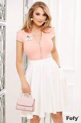 Camasa Fofy roz cu nasturi transparenti si brosa