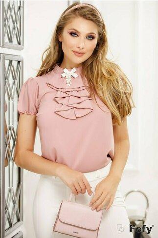 Camasa Fofy roz pudrat si jabou cu brosa decorativa