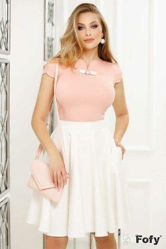 Camasa Fofy roz somon cu aplicatie delicata la bust