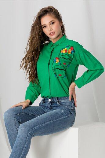 Camasa Frida verde cu broderie