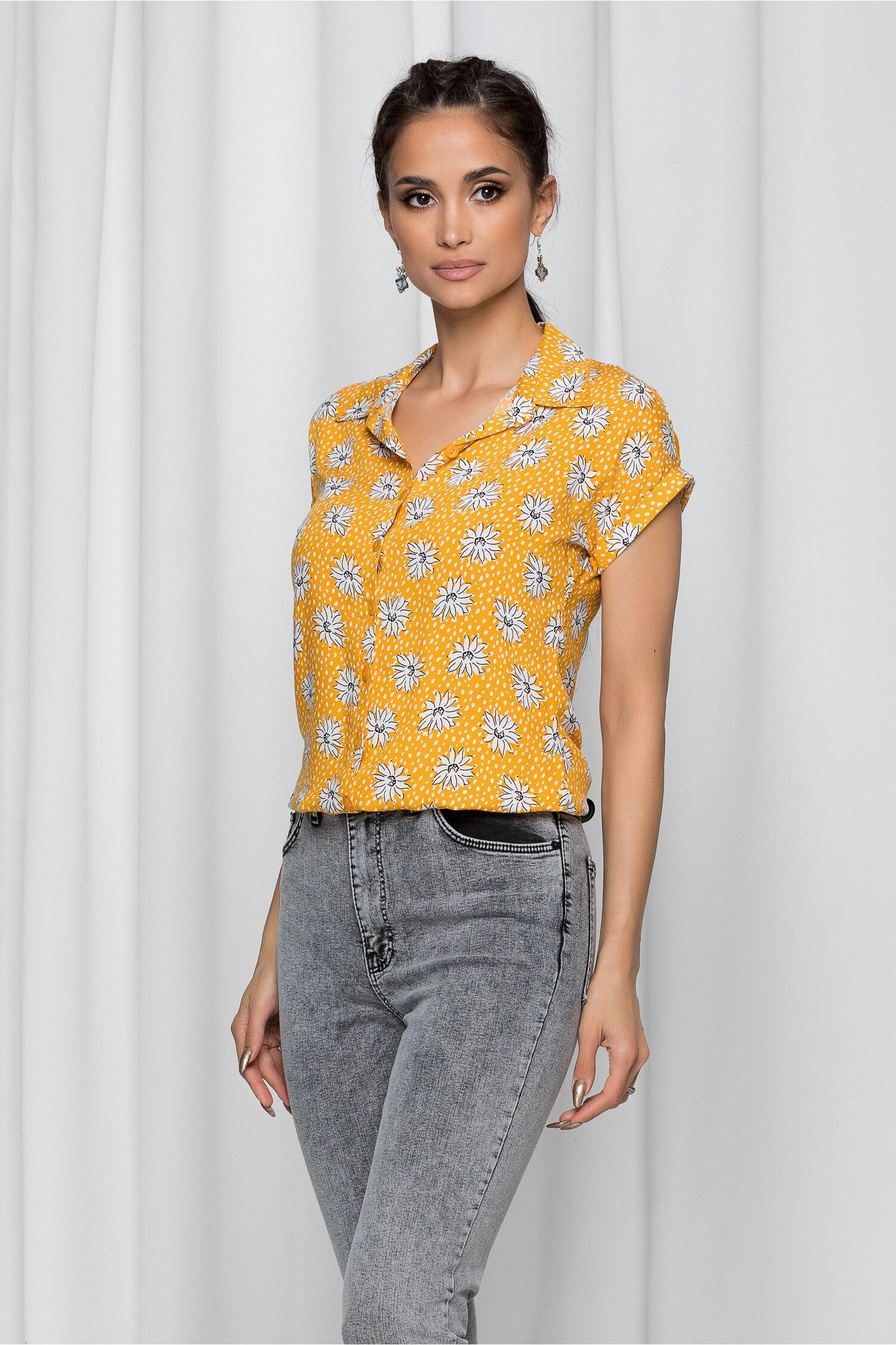 Camasa Iraide galben mustar cu imprimeu floral si elastic la baza