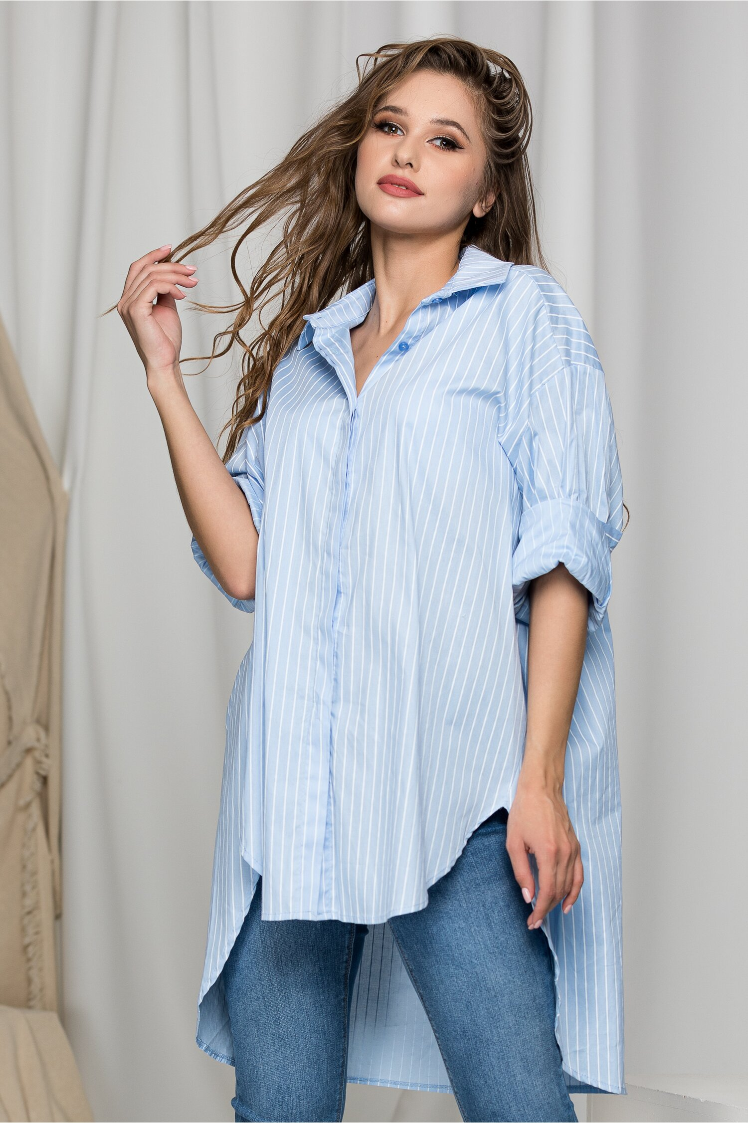 Camasa Kaly One Size bleu cu imprimeu in dungi albe