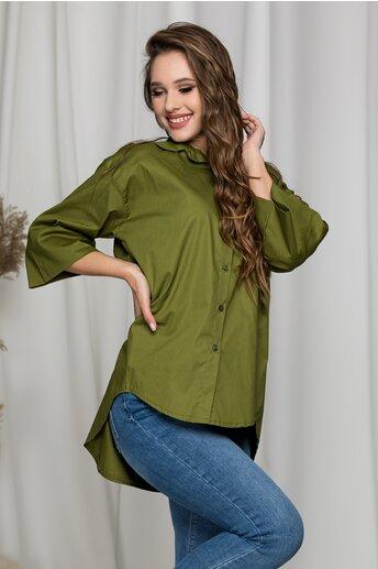 Camasa Keysha verde lejera cu maneci trei sferturi