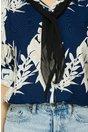 Camasa Kia bleumarin cu flori bej si esarfa