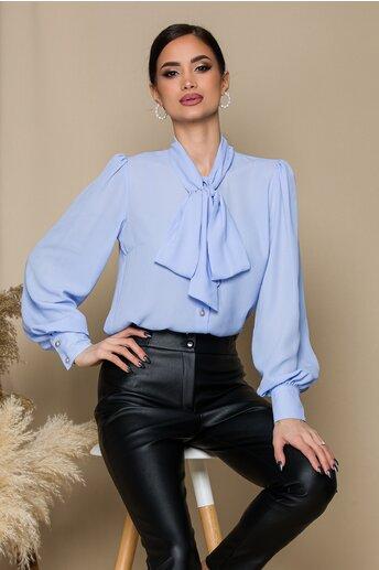 Camasa LaDonna bleu cu guler tip esarfa