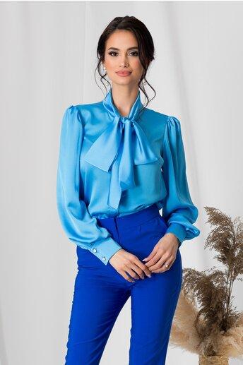 Camasa LaDonna bleu satinat cu guler tip esarfa