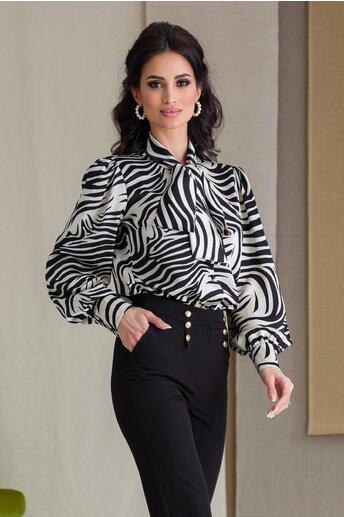 Camasa LaDonna cu zebra print si guler tip esarfa