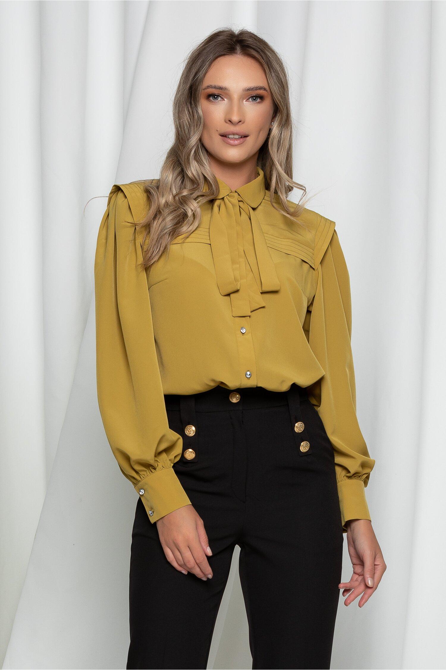 Camasa LaDonna galben mustar cu aplicatii pe bust si la umeri