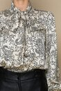 Camasa LaDonna ivory cu imprimeu floral si guler tip esarfa