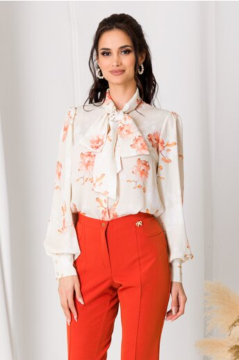 Camasa LaDonna ivory cu flori orange si guler tip esarfa