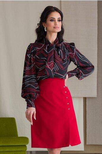 Camasa LaDonna neagra cu imprimeu rosu si guler tip esarfa
