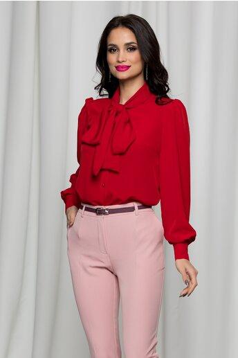 Camasa LaDonna rosie cu guler tip esarfa