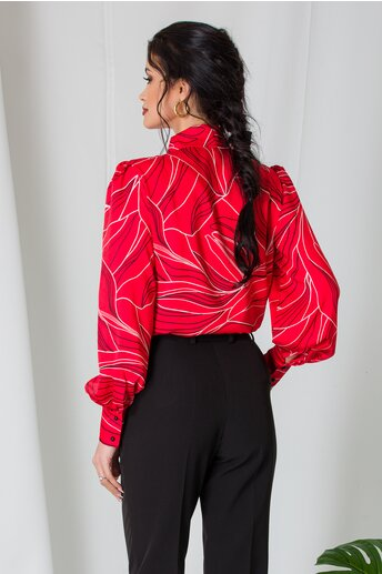 Camasa LaDonna rosie cu imprimeu negru si guler tip esarfa
