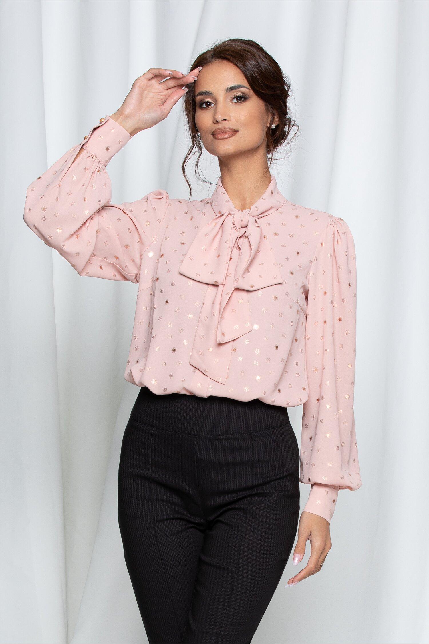 Camasa LaDonna roz cu buline aurii cu guler tip esarfa