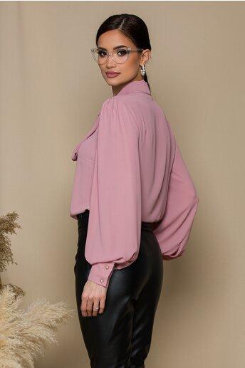 Camasa LaDonna roz pudra cu guler tip esarfa