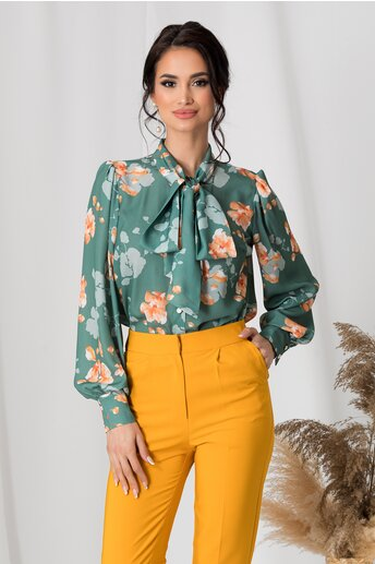 Camasa LaDonna verde cu flori orange si guler tip esarfa
