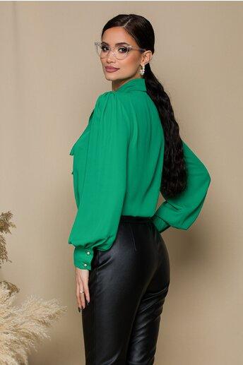 Camasa LaDonna verde cu guler tip esarfa