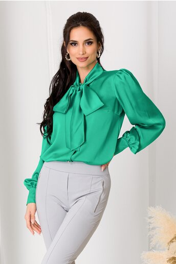 Camasa LaDonna verde satinat cu guler tip esarfa