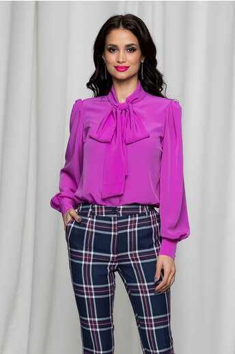 Camasa LaDonna violet deschis cu guler tip esarfa