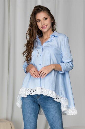 Camasa lejera Adela bleu si dantela la baza