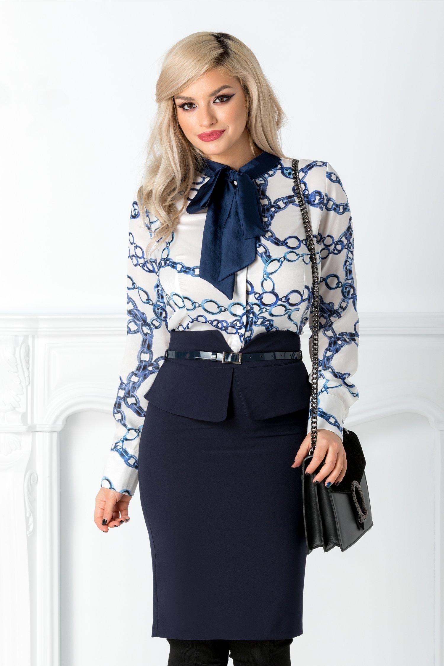 Camasa Lizzie alba cu imprimeu albastru