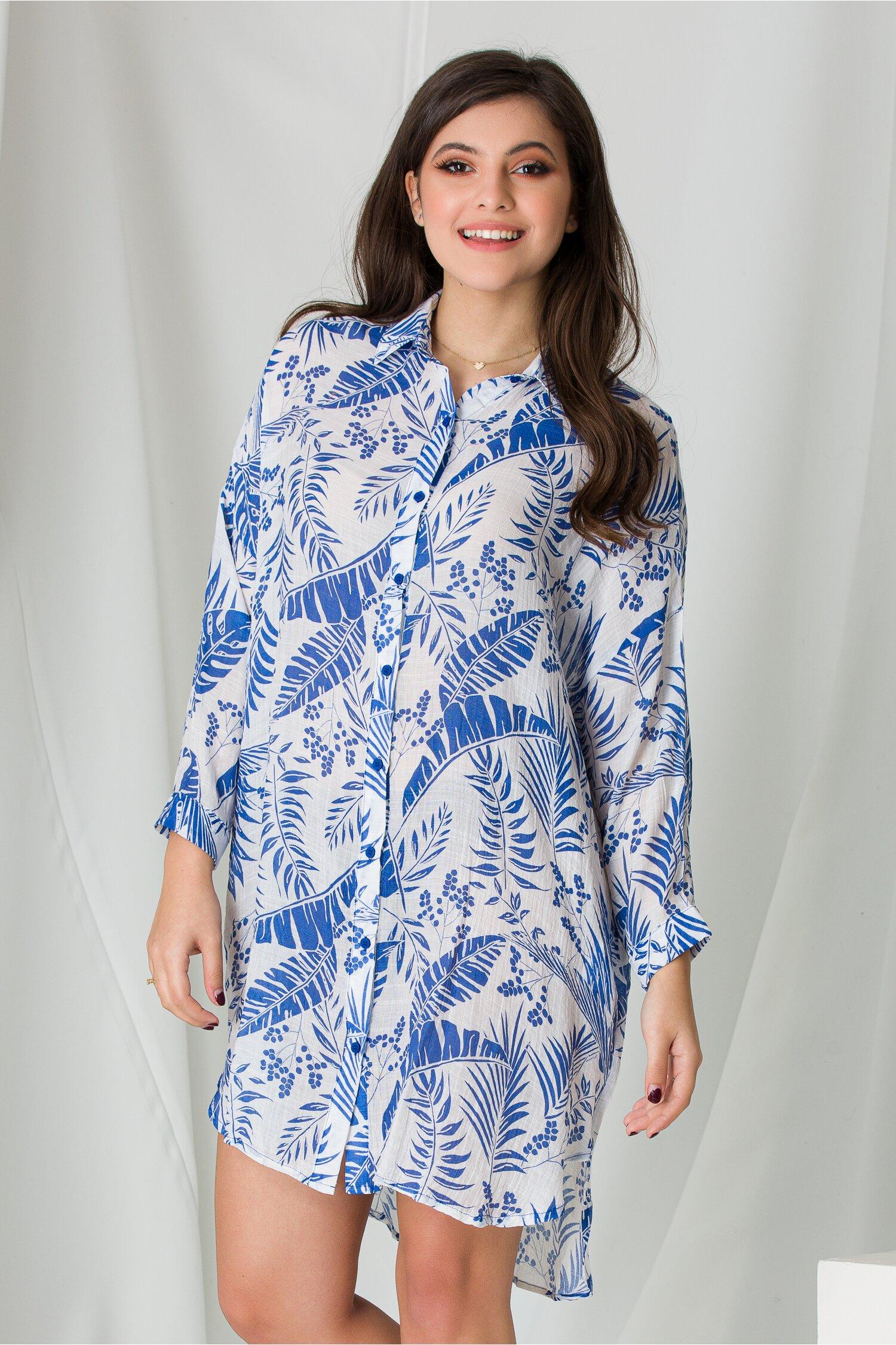 Camasa lunga alba cu imprimeuri albastre