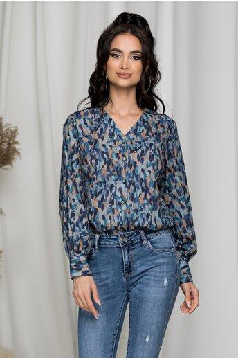 Camasa Melania bleu si imprimeuri diverse