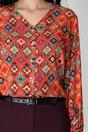 Camasa Melania rosie si imprimeuri diverse