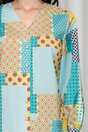 Camasa Melania turcoaz cu galben si imprimeuri diverse