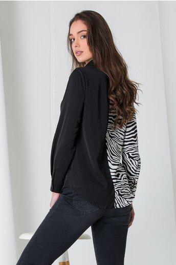 Camasa Mirabella neagra zebra print