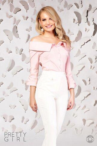 Camasa Pretty roz din bumbac cu umerii goi