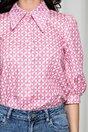 Camasa Roxana roz cu imprimeu geometric