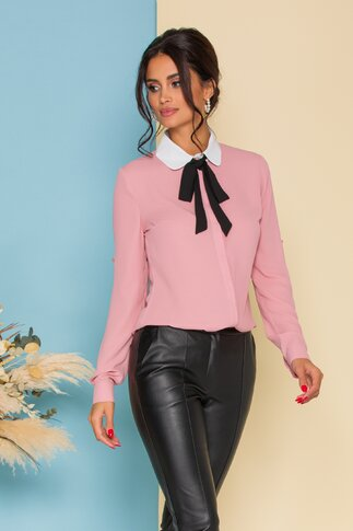 Camasa MBG roz cu guler alb si accesoriu tip esarfa