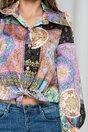 Camasa Sorina lila cu nasturi argintii si accesoriu gentuta