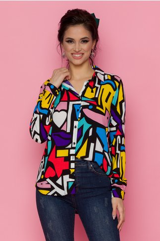 Camasa Zuny cu imprimeu divers multicolor