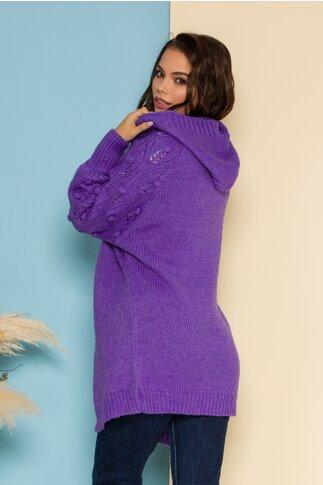Cardigan din tricot lila cu insertii in relief