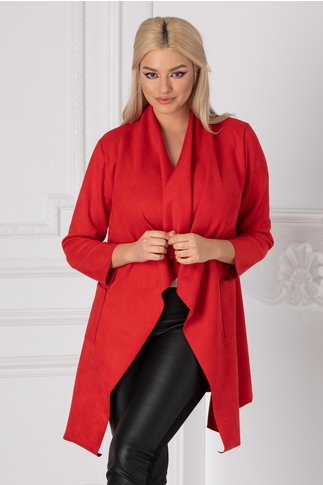 Cardigan rosu asimetric cu buzunare